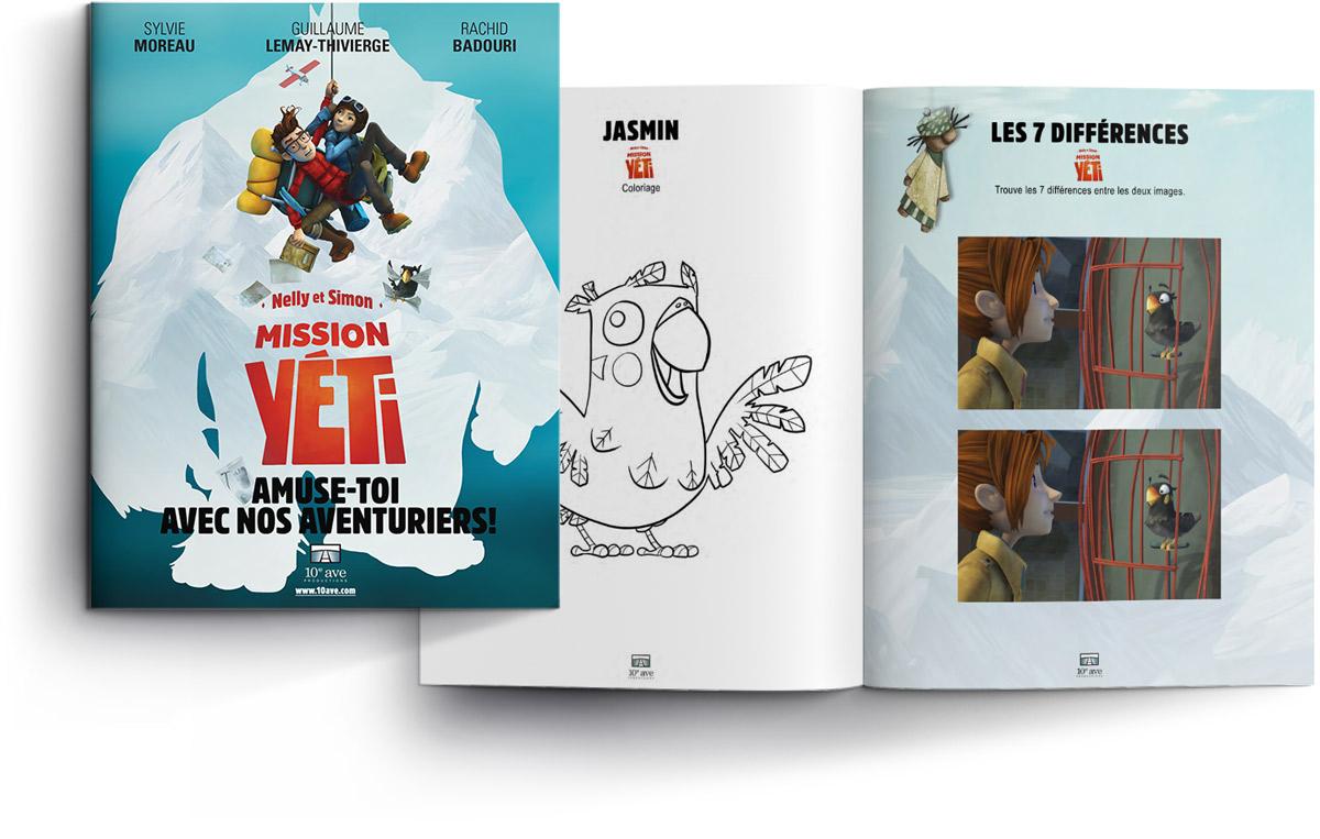 Cahier d'activités de Mission Yéti : coloriage dessins drawing caracters personnages histoires jeux mots-cachés 7 différences